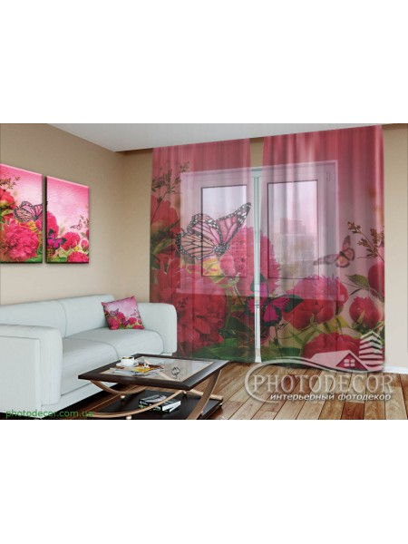 """3D ФотоТюль """"Бабочки и розовые пионы"""""""