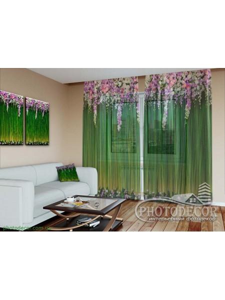 """3D Фото Тюль """"Ламбрекен из цветов. Зеленые"""""""