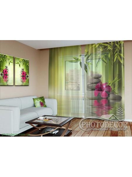 "3D Фото Тюль ""Листья бамбука"""