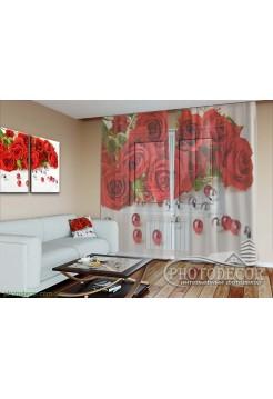 """3D ФотоТюль """"Розы и бусинки"""""""