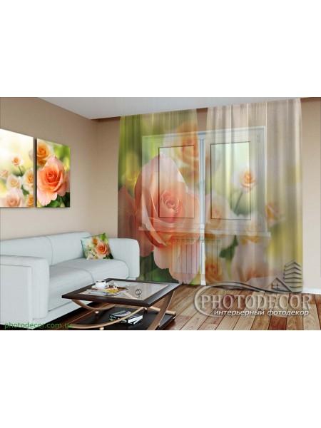 """3D Фото Тюль """"Розы невесты"""""""