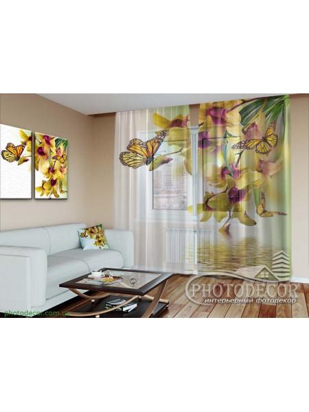 """3D ФотоТюль """"Желтые орхидеи и бабочки"""""""