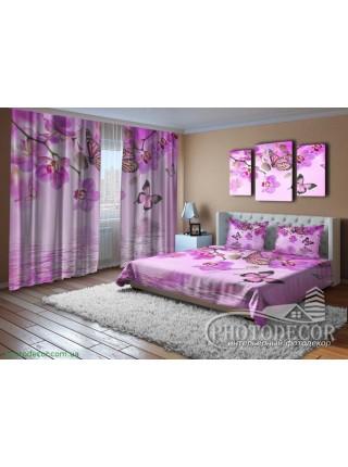 """3D ФотоШторы """"Малиновые орхидеи и бабочки"""""""