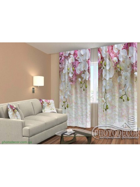 """3D ФотоШторы """"Ламбрекены из белых орхидей"""""""
