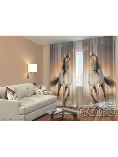 "3D ФотоШторы ""Две лошади"""