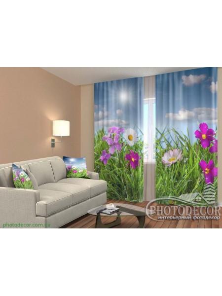 """3D ФотоШторы """"Полевые яркие цветы"""""""
