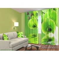 """3D ФотоШторы """"Зеленые орхидеи"""""""