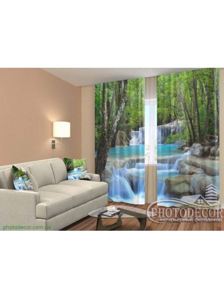 """ФотоШторы """"Голубой водопад в лесу"""""""