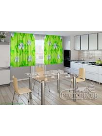 """Фото шторы для кухни """"3d клевер листья"""""""