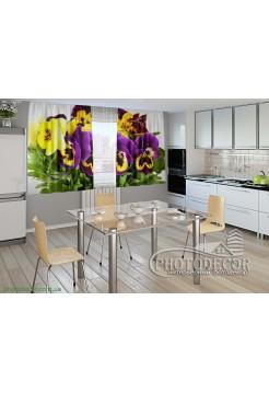 """Фото шторы для кухни """"Анютины глазки"""""""