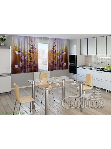 """Фото шторы для кухни """"Бабочки и цветы"""""""