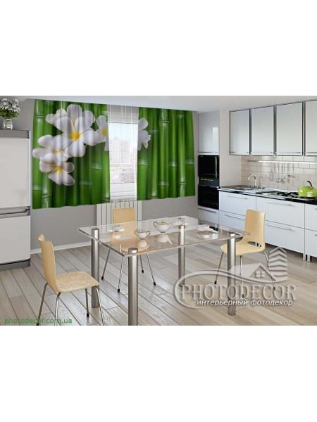 """Фото шторы для кухни """"Бамбук и цветы"""""""