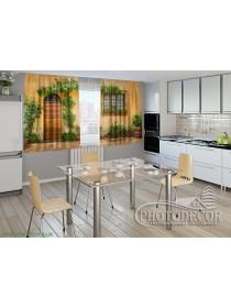 "Фото шторы для кухни ""Фасад в цветах"""