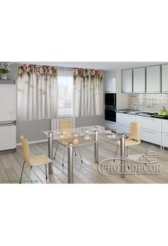 """Фото шторы для кухни """"Ламбрекены из цветов. Розочки для кухни"""""""
