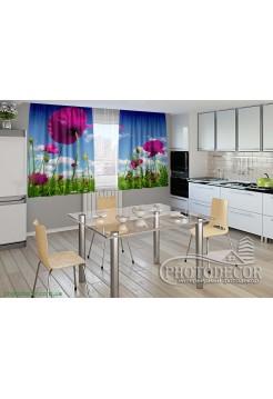 """Фото шторы для кухни """"Малиновые маки"""""""