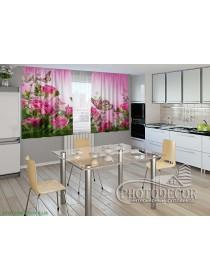 """Фото шторы для кухни """"Розовые нотки"""""""