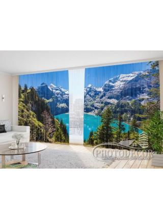 """3D ФотоШторы """"Летний вид на озеро в Альпах"""""""