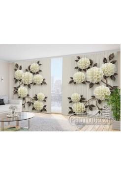 """Фото Шторы  для зала """"3D Ветки цветов"""""""