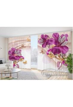 """Фото Шторы  для зала """"3D сиреневые цветы со стразами"""""""