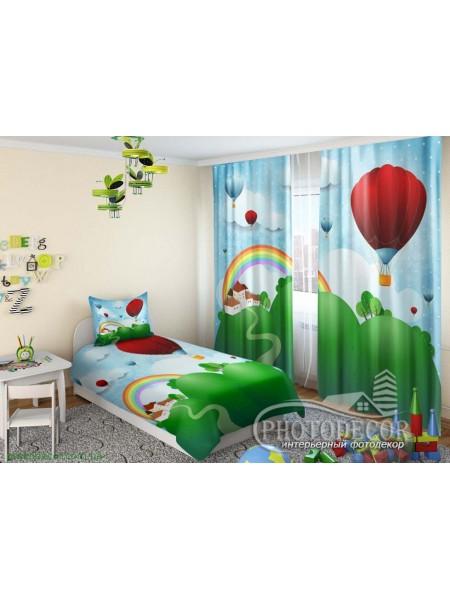 """Детские 3D Фото Шторы """"Воздушные шары и радуга"""""""