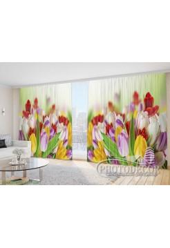 """Фото Шторы  для зала """"Разноцветные яркие тюльпаны"""""""