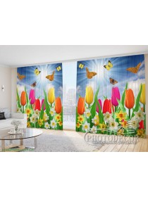 """Фото Шторы  для зала """"Тюльпаны и нарциссы с бабочками"""""""