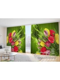 """Фото Шторы  для зала """"Тюльпаны на зеленом фоне"""""""