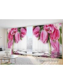 """Фото Шторы  для зала """"Тюльпаны над водой"""""""