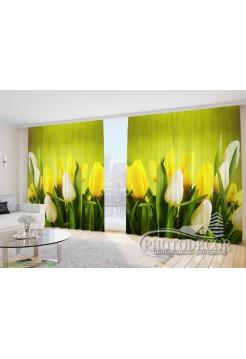 """Фото Шторы  для зала """"Желтые с белыми тюльпанами 1"""""""
